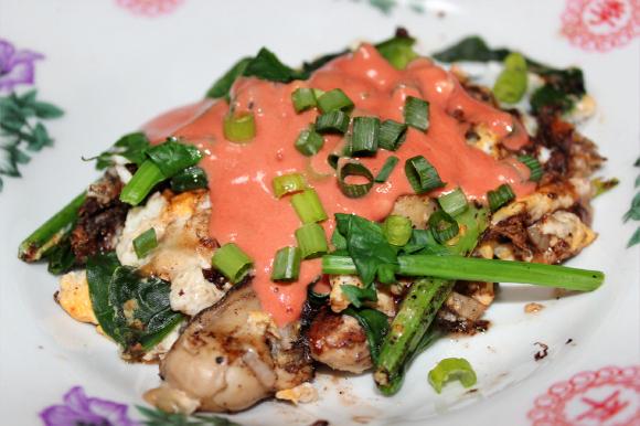 台湾屋台の味キタッ★ 夜市に行ったら絶対マストな「牡蠣オムレツ」を作ってみたよ / 蚵仔煎(おーあっじぇん)