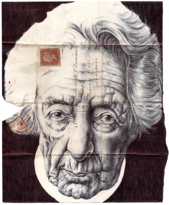 ぎゃーっ…と悲鳴が出ちゃうかも! リアルに老人の顔が描かれた、生きてるみたいな封筒