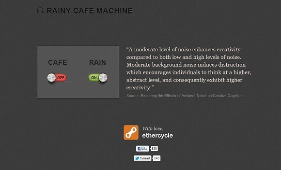 適度なノイズで集中力がアップ♪ カフェのざわめきと雨音が流れるサイト「RAINY CAFE MACHINE」