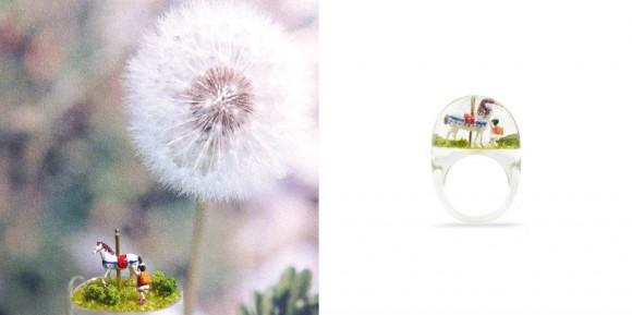 ジーッと見入っちゃう! 小さな指輪のなかに広がるジオラマ世界