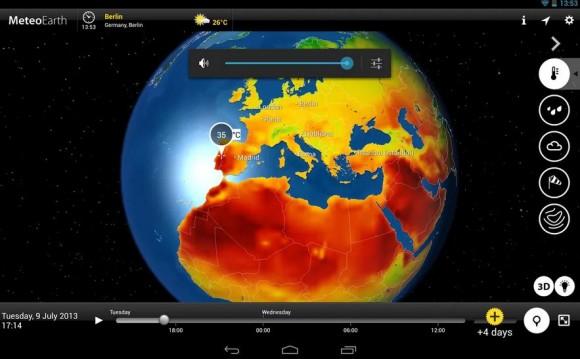 地球儀を回すように世界各国の天気がわかるアプリ/気温、降雨情報、気圧や風圧、風速も表示される
