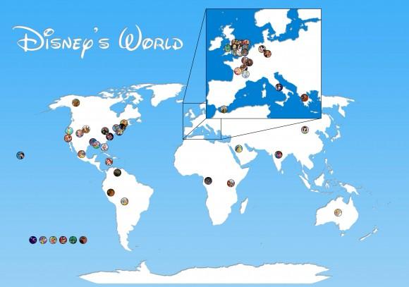 ディズニー映画の舞台が印されている!? ファンにはたまらない「夢の世界地図」登場