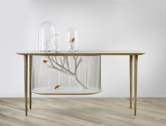 わ、なんかステキやん!! 鳥かごとテーブルが一体化した「鳥かごテーブル」