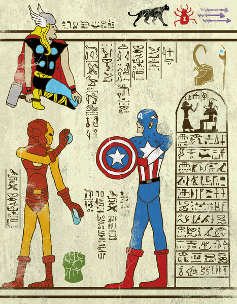 古代エジプトの壁画風に変身! 味わい深くなったスーパーヒーローたち
