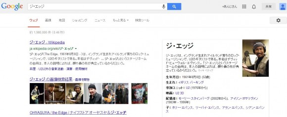 U2のギタリスト「ジ・エッジ 」をグーグル画像検索した結果