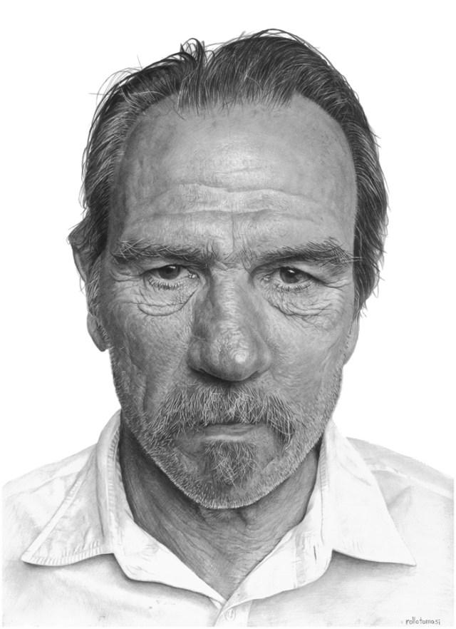 まるで写真のように精密なハリウッド俳優の似顔絵! なんと使用材料は紙と鉛筆のみですぞ!