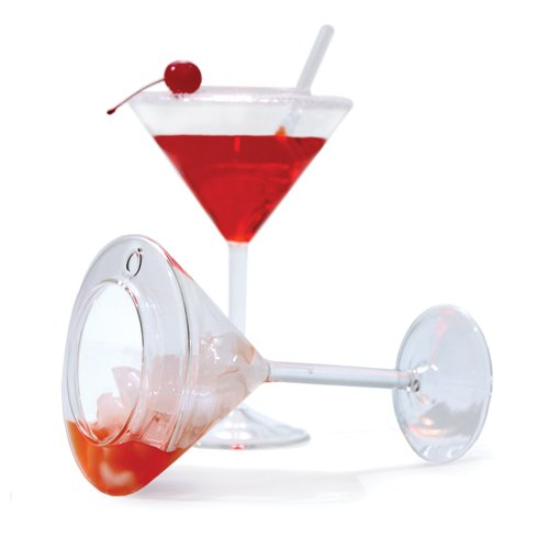 はたして飲みごこちは? 倒しても倒しても中身がこぼれないマティーニグラス