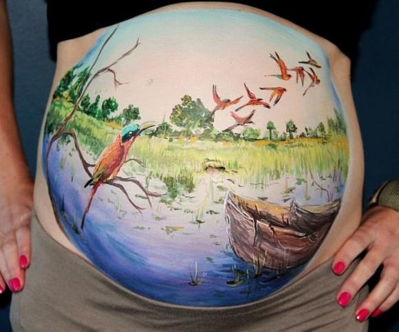 ママのお腹はでっかいキャンパス! 妊娠中のお腹にお絵かきできちゃうボディペインティング・キット!
