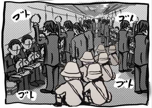 混雑車内の床に集団で幼児を座らせる…Twitterの画像に賛否両論 / マナー的にどうなのか鉄道会社に電話取材してみた!