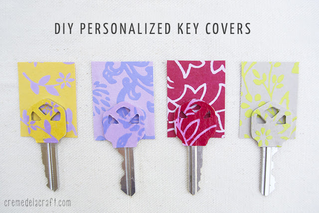 自宅の鍵もオシャレじゃなきゃイヤ! 紙とデコパージュ用のり「モッドポッジ」で簡単リメイク、大人可愛いデザインキーDIY♪