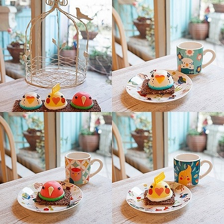 東急ハンズ池袋店限定の「インコケーキ」がもふもふすぎッ! セキセイインコとオカメインコとコザクラインコの3羽セットです♪