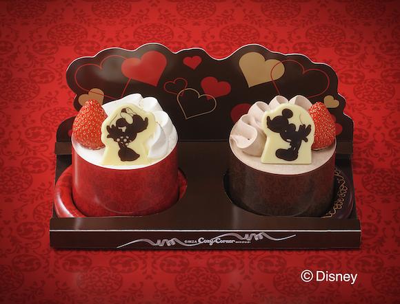 【ご褒美スイーツ】コースター付き! ミッキー&ミニーの可愛いケーキ/銀座コージーコーナーより、バレンタインの期間限定だよ