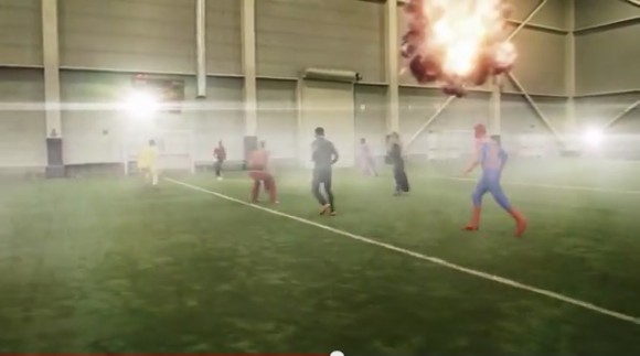 スーパーヒーローたちが必殺技を繰り出し何でもアリなサッカーをする動画 / 最後はあの魔法使いが…
