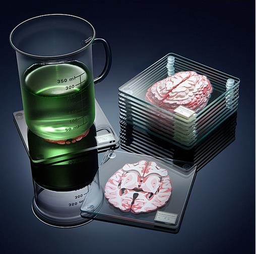ひえぇ…脳の断面図コースター! 10枚重ねるとリアルな脳になっちゃう!!