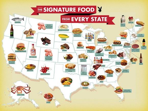 意外と知らない「アメリカ料理」がいろいろ! 州別の代表的な食べ物を示したマップ