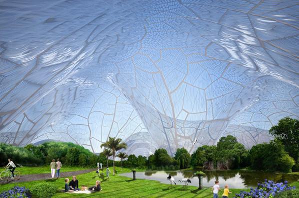 空を見上げると透明なドーム型天井!  SFチックな大気汚染対策にびっくり