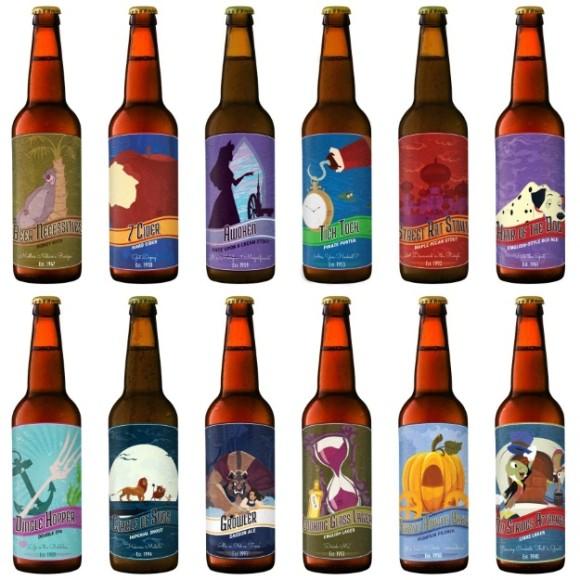 ディズニーアニメ映画をモチーフにした瓶ビールのラベル! 実際にプリントアウトしてビール瓶に貼れちゃうよ!!