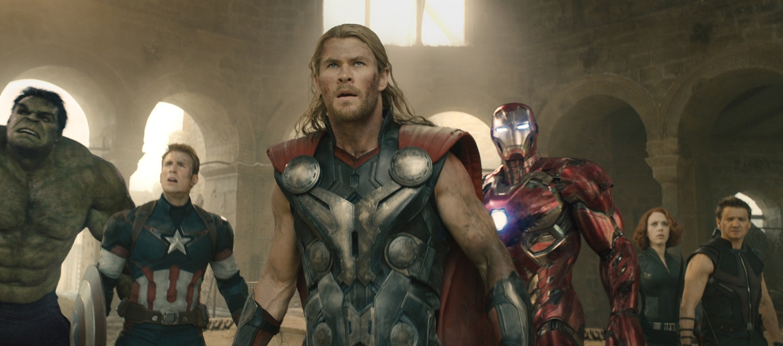 Marvel's Avengers: Age Of Ultron L to R: Hulk (Mark Ruffalo), Captain America (Chris Evans), Thor (Chris Hemsworth), Iron Man (Robert Downey Jr.), Black Widow (Scarlett Johansson), and Hawkeye (Jeremy Renner) Ph: Film Frame ©Marvel 2015