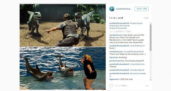 恐竜たちに「待て!」最新映画『ジュラシック・ワールド』の名シーンがアメリカの飼育員さんに大流行らしい!!