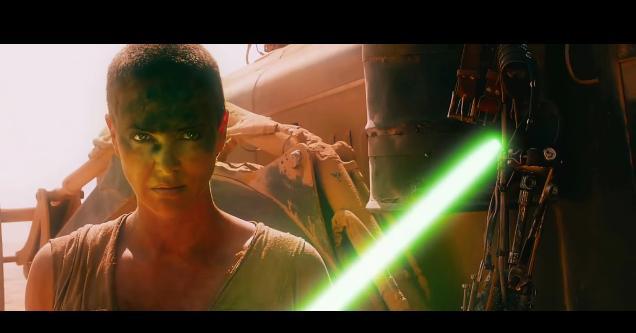もしも「マッドマックス 怒りのデス・ロード」が「スターウォーズ」だったら! フュリオサ大隊長の手にはライトセーバーが!!(動画)