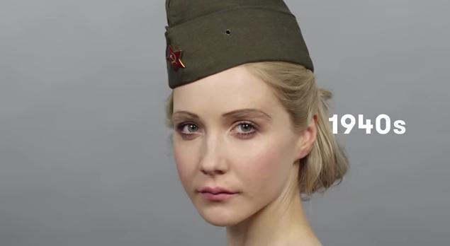 綺麗すぎておそロシア! 美女が七変化をみせる「メイクの歴史100年・ロシアバージョン」/ 戦争の影響などが見えてきていろいろ感慨深いゾ