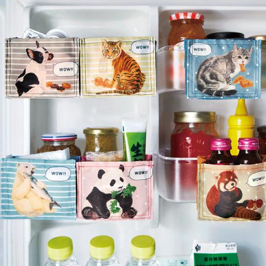 かわいすぎて悶絶! 「つまみ食いする動物たち」のデザインが愛しすぎる「冷蔵庫用収納ポケット」