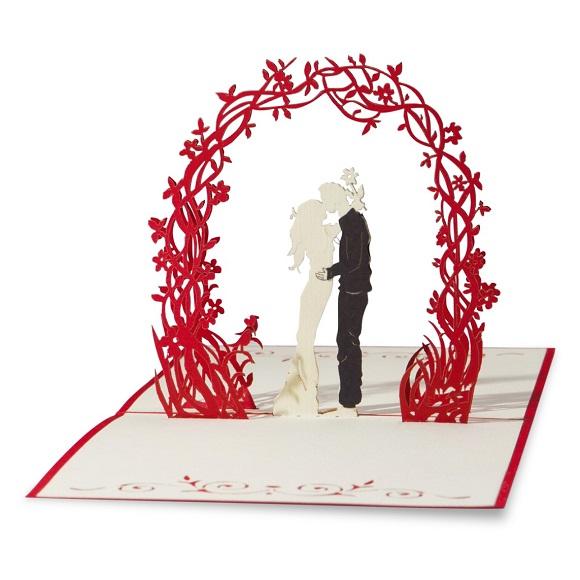 wedding_arbor_bride_groom-red_white-paper_lovepop_popup_card-full_open