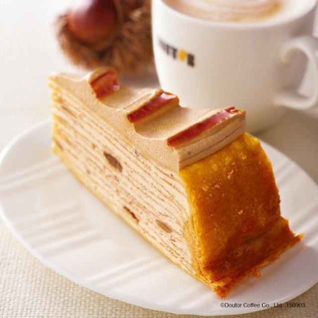 【秋限定】ドトールの人気者「ミルクレープ」からマロン味がでたぞ〜! 栗と生クリームという黄金コンビネーションは絶対に食べるべし!