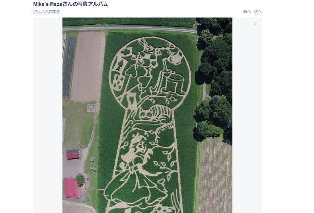 アメリカ版・田んぼアートもSUGEEE!! とうもろこし畑の中に出現したのは「不思議の国のアリス」巨大迷路!