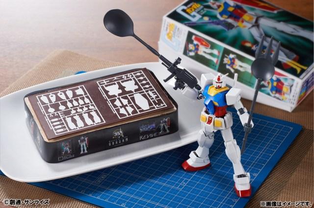【機動戦士ガンダム】「ガンプラ第一号」デザインのケーキが発売! 先端がスプーンとフォークになってるガンプラも付いてくるぞ!!