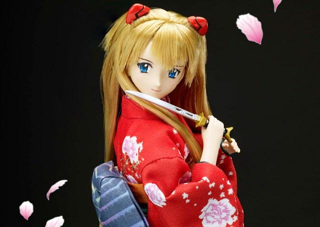エヴァンゲリオン×日本刀の和ドールが発売されているよ / A.T.フィールドの帯をしめたアスカやマリの着物姿がかっこいい!