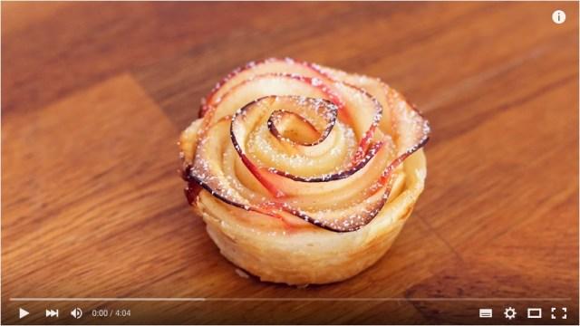 【簡単ステップですぐ作れそう!】バラの形のリンゴタルト、作り方動画がわかりやすい!! ちょっとひと工夫でこんなに可愛くなるのね♪