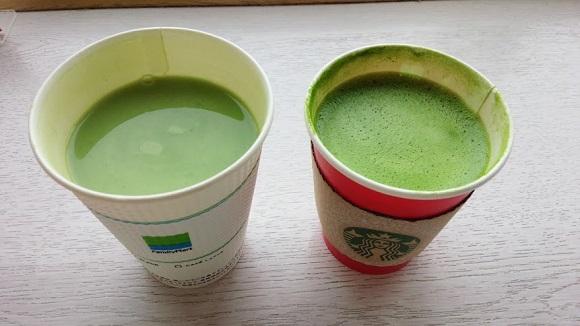 【王者vs庶民派】スタバ vs ファミマの抹茶ラテを飲み比べてみた結果…値段以上に大きな違いがあったよ!