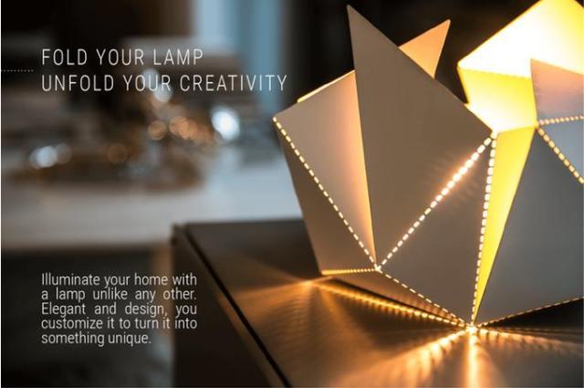 折り紙みたいなランプ『Folding Lamp』が美しい☆ 好きな灯りを「折り曲げて」デザインできるよ!