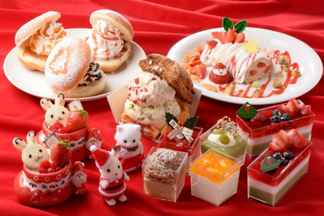 シルバニアファミリーとコラボしたクリスマススイーツが超かわいい! クリスマスバージョンのショコラウサギにも会えるよ♪