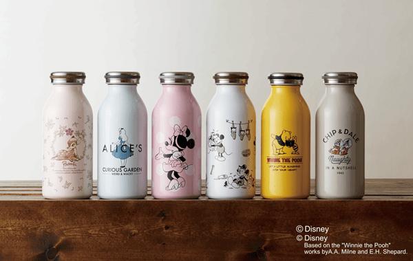アリスもプーさんもバンビもいるよ☆牛乳瓶みたいなレトロかわいい「ステンレスボトル」にディズニーキャラが仲間入り♪