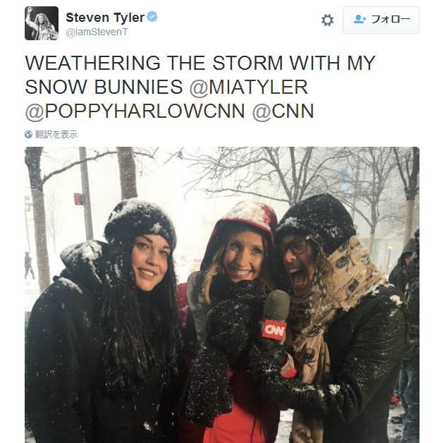 【ビックリ】大雪の米NY……テレビ中継してたらエアロスミスのスティーブン・タイラーが偶然通りかかったよ