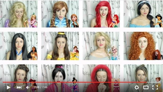 一人でディズニープリンセス12人を熱演! 歌い方や衣装も真似てメドレーを歌い上げる女性の「なりきり動画」がスゴイ