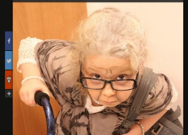 2011年生まれのおばあちゃん!? 学校生活100日目を祝って5歳の少女が100歳老婆のコスプレに挑戦したよ!