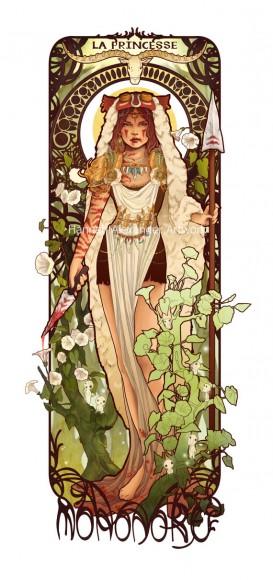 """アール・ヌーヴォー風に人気キャラを描くアーティストが新作「もののけ姫」「セーラー戦士」を発表したよ! 前よりもっと """"ミュシャ"""" っぽくなってる♪"""