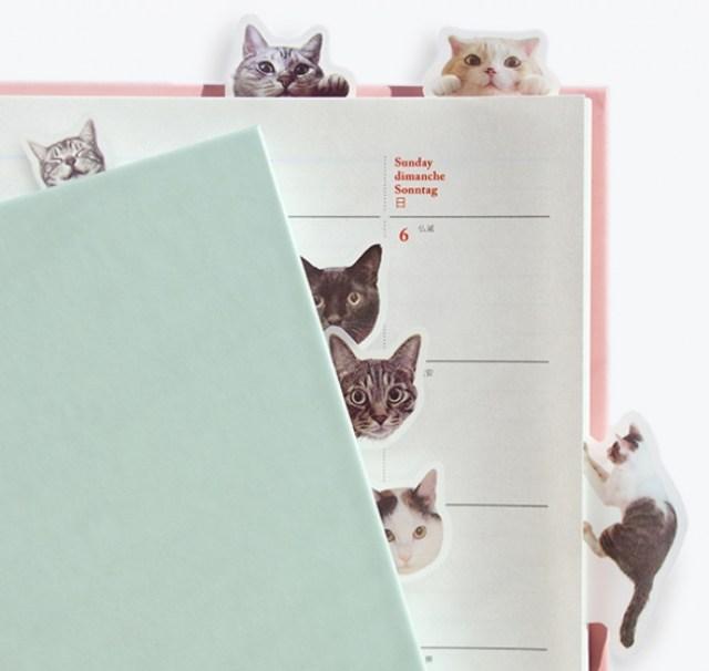 ニャンコさんたちと目が合う、合いまくる! 猫たちが手帳の影からこちらをじーっとうかがう「猫ふせん」新登場です☆