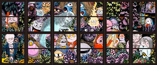 【妖怪大集合】水木しげるの妖怪たちが巨大ステンドグラスで蘇る! 米子鬼太郎空港にパブリックアート「妖怪たちの森」完成!!