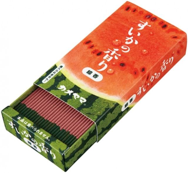 【次世代線香】みずみずしく、あま~く香る!! 赤&緑ツートンカラーの「すいか線香」はいかが?