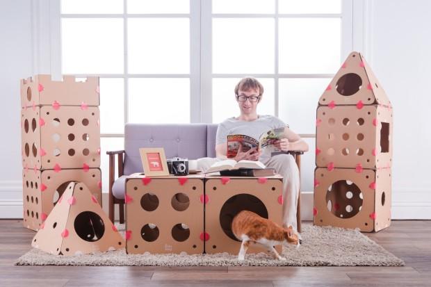 猫が大好きなボール紙素材! ジャングルジムみたいな組み立て式キャットハウス「ボックスキティ」