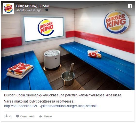 フィンランドのバーガーキングにはサウナ付きの店舗があるんだって!! ラウンジやゲームルーム完備で楽しそう〜♪