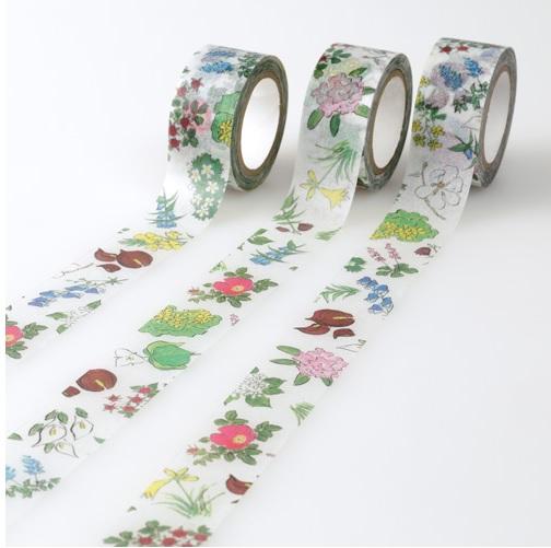北海道ゆかりの草花が描かれた「六花亭」包装紙柄のマスキングテープが登場!! オンラインショップで注文可能だよ!