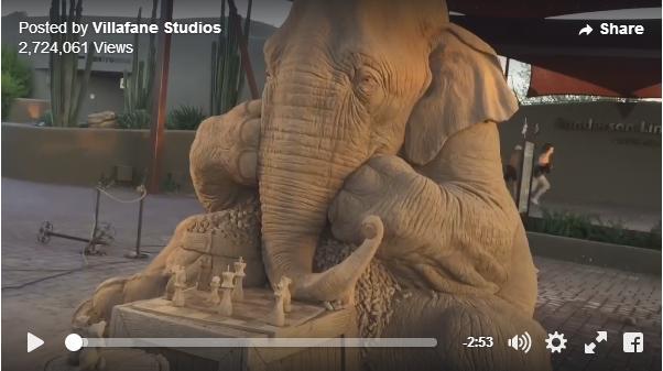 肌のシワもつぶらな瞳も本物の象さんそっくり! アメリカに登場した超絶リアルなサンドアート