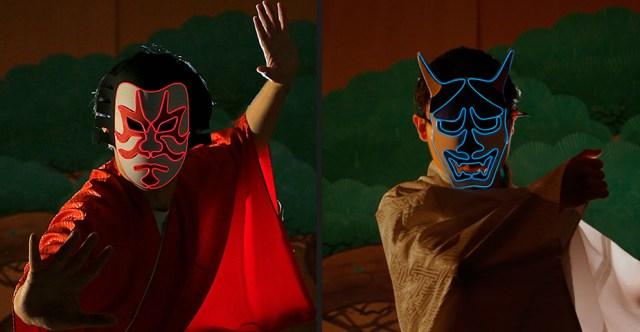 1秒で「歌舞伎役者」と「般若」になれる!? 光る仮装マスクで誰よりも目立っちゃお! 声や音に反応してピカピカ点滅するよ