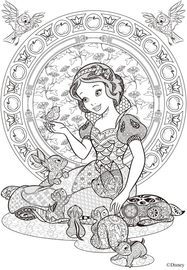 ディズニーのアニマルキャラが「大人のぬり絵」になったよ! タングル模様の「白雪姫」や「ふしぎの国のアリス」で瞑想体験!?