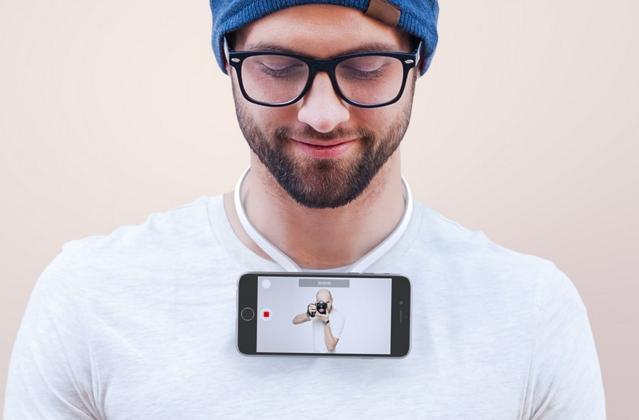 手持ちのスマホをネックレスみたいに固定できる「Povie」が面白そうです